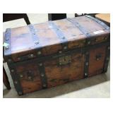 Petite Solid Trunk  With Brass Hinges And Ribbing