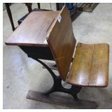 Antique Wooden Fold Down Front School Desk