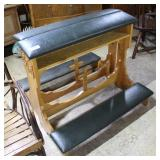 Two Oak Prayer Kneeling Benches, Small Rip To Top
