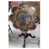Folding Octagonal Chinese Black Lacquer Occasional