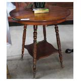 Round Oak Ball & Claw Foot Table With Under Shelf