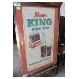 King Size Coca Cola Framed And Matted Advertising