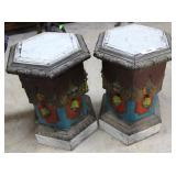 Pair Of French Painted Hexagonal Wooden Carved Sta
