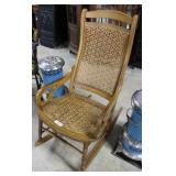 Oak Woven Seat And Back Rocking Chair With Starbur