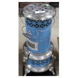 """Perfection Oil Heater In Sky Blue Paint 25"""" H"""
