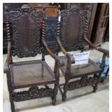 Pair Of Polynesian Carved Cane Seated & Backed Arm