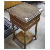 Lift top bamboo sewing basket on stand