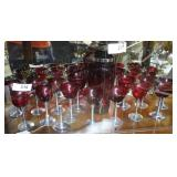 Ruby Red & chrome stemmed cordials & Party size sh