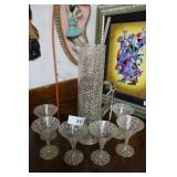 MCM Martini glasses & Cylinder pitcher in abstract