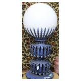 "Festive art metal accent light with 14"" Milk glass"