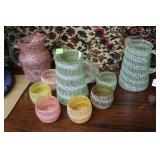 1950s Spaghetti string drizzle eight glasses with