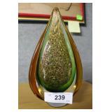 Contemporary Murano tear drop in green, amber & go