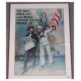 "Framed WWII Navy print 38"" x 29"""