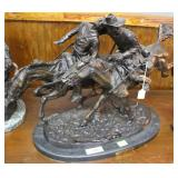 """Fredrick Remington """"Wounded Bunkie"""" bronze on marb"""