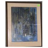 Notre Dame framed original Bernard LaMotte signed