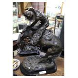 "Remington Bronze ""Rattlesnake"" on marble stand 22"""