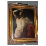19th century gilt framed portrait of nude male in