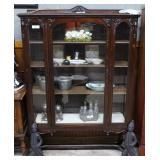 4 shelf mahogany display cabinet, glass sides, ree