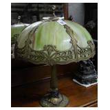 Green Slag glass art metal library lamp with lotus
