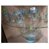 12 Mid Century Modern ice tea glasses & punchbowl