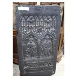 19th Century carved wooden shutter painted black w
