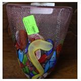 Contemporary Murano art glass vase with millefiori