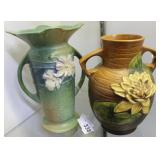 """Two Roseville vases: Cosmos 953 - 9"""", &  No. 77 Wa"""