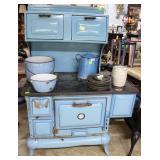 1960s Windsor blue & white porcelain stove with ov