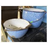 """Two blue & white enamel buckets 10"""" & 12"""""""
