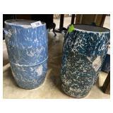 """Two blue & white milk pails 18"""" H"""