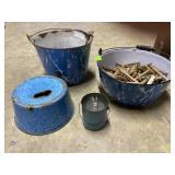 Blue & white enamel pail, cook pot, clothes pins,