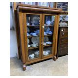 Bow Front double door Tiger Oak rolled top cabinet