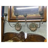 Pair of wood & brass two light wall sconces