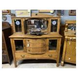 Tiger Oak step back Bow front server with stained