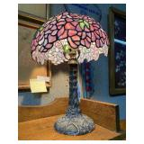 Contemporary purple floral stained glass desk lamp