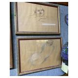 Pair of unsigned pencil drawings of nude lady wait