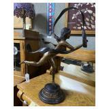 Art Deco Bronzed ribbon dancer with dolphin design