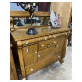 Oak Step back server with bow front legs and conte
