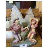 F.A.I.P dancing couple chalk ware lamp *chips to b