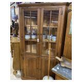 Contemporary pine two door, Three shelf  corner ca