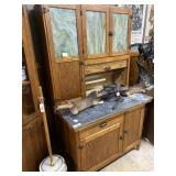 Oak Bakers Cabinet with redone slag glass windows,
