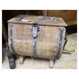 Wood churn with iron hardware