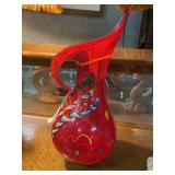 """Contemporary 23"""" H ruby red art glass pitcher/vase"""