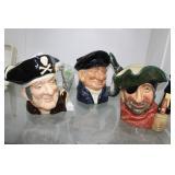 Three Royal Dolton Toby mugs: Long John Silver, Sm