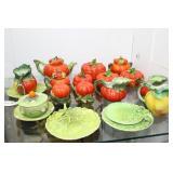 14pcs Royal Bayreuth Tomato incl teapot, sugar & c