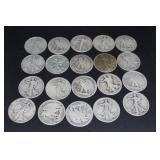 Twenty Silver Walking Liberty half dollars $10 Fac