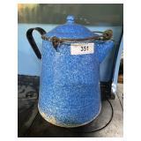 Blue & White enamel camp coffee pot