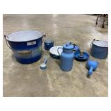 9 blue & white enamel kitchen items: candlestick,