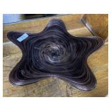 Contemporary art glass center bowl in brown hues 1