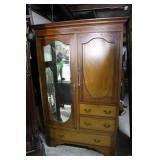 Victorian European burled mahogany upright double